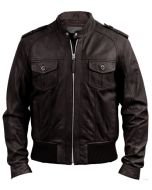 Brown Leather Bomber Jacket