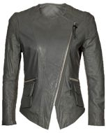 Collarless Grey Leather Jacket For Women