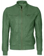 Green Bomber Leather Jacket Men