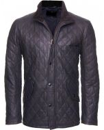 Black Leather Quilted Jacket For Men
