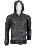 Leather jackets with hoods for men