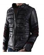 Military Black Leather Jacket