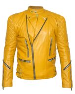 Quilted Yellow Men Leather Jacket