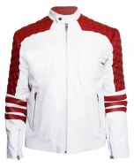 Red and White Quilted Leather Jacket Men
