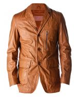 Men Tan Leather Coat