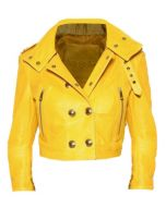 Yellow Studded Leather Jacket Women