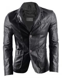 Men Black Leather Coat