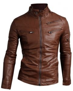 Brown Leather Biker Jacket For Men