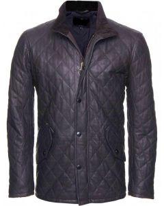 Black Leather Quilted Jacket For Men