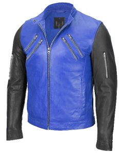 men blue and black jacket front