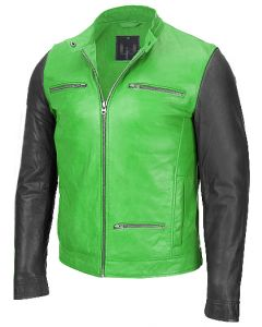 Men green and black jacket front