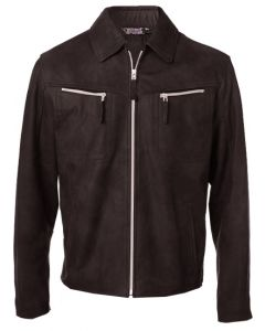 Nubuck Brown Leather Jacket For Men