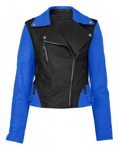 Women black and blue jacket front