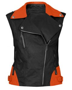 women black and orange vest