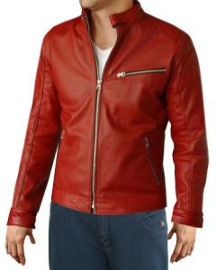 Men Red Leather Jacket