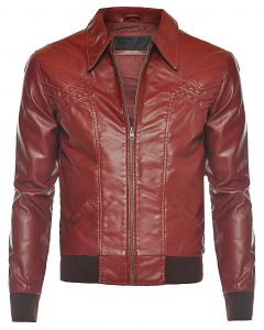 Men Maroon Leather Jacket
