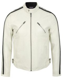 Men White Leather Jacket