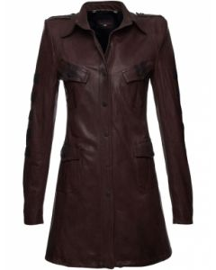 Long Length Women Brown Leather Coat