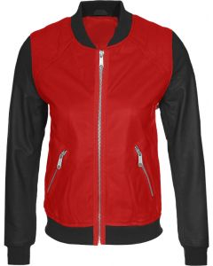 women black and red jacket front