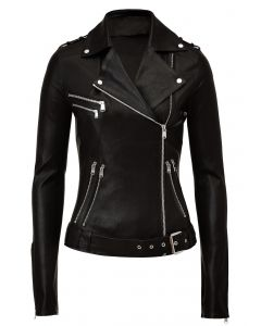 Black leather jacket women