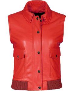 Women red bomber vest