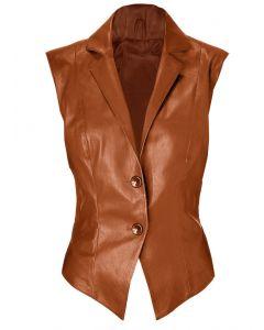 women tan vest front