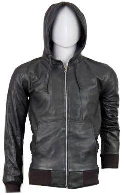 Hood Leather Bomber Jacket